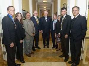 Mote meets with university and college leadership at the Ronald W. Reagan Presidential House