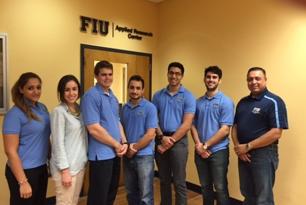 In the picture (from left to right) Awmna Rana (Communication Officer), Carolina Padron (Secretary), Ryan Sheffield (President), Maximiliano Edrei (Vice President), Janesler Gonzalez (Officer – special programs), Jesse Viera (Treasurer) and Dr. Leo Lagos (FIU Chapter advisor).