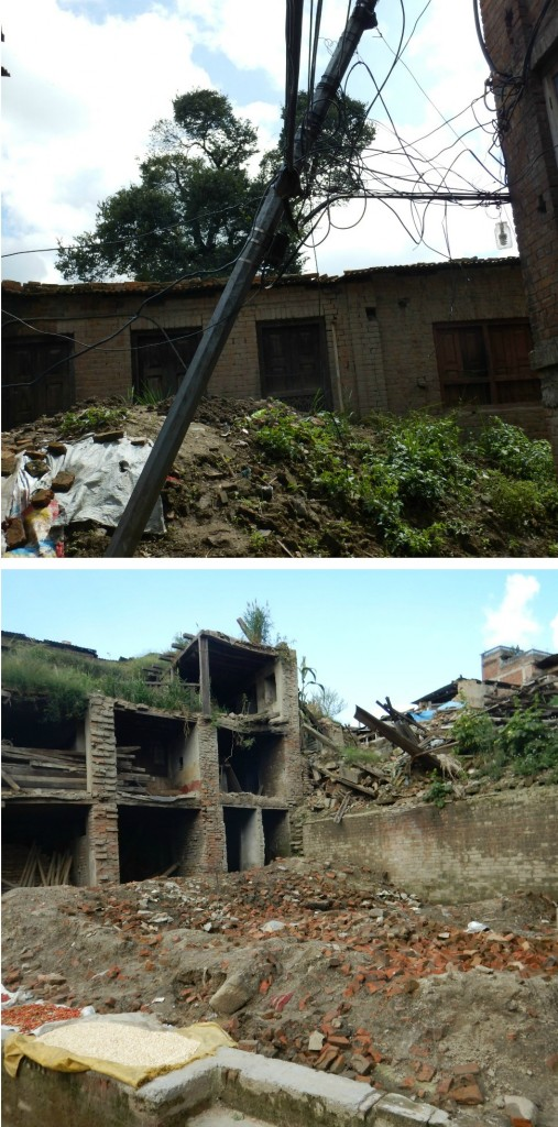 Downed power lines and crumpled buildings are among the infrastructure problems that affected Nepal after a magnitude 7.8 earthquake in April 2015.