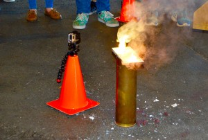 FIU's ASME demonstrates how different elements burn at the 2016 Engineering Expo