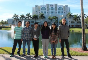 SMILE Lab group. From left to right: Jingan Qu, Peng Liu, Asst. Prof. Ruogu Fang, Xing Pang, Yao Xiao and Denial Parra