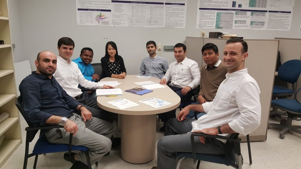 Travel Behavior and GIS (Geographic Information System) Lab group – Left to right: Hamidreza Asgari, Eazaz Sadeghvaziri, Md Sakoat Hossan, Xia Jin, Seyedmirsajad Mokhtarimousavi, Mohammad Lavasani, Kollol Shams, and Mario Rojas