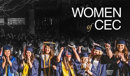 Women graduates at graduation with women of CEC logo