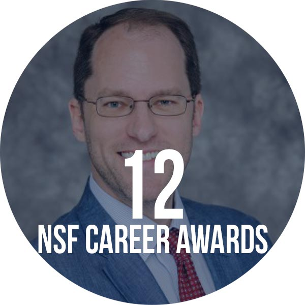photo of professor with text that says 11 NSF career awards