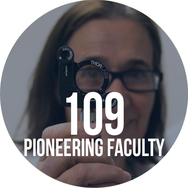 photo of faculty member with text that has number of pioneering faculty